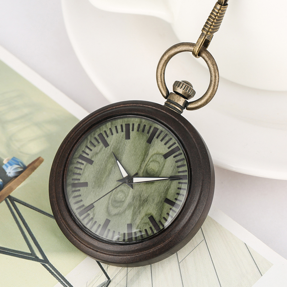 Pendant Watches Necklace Green Dial Clock Ebony Case Pocket Watch Women Special Utility Bronze Rough Chain Gift Montre De Poche