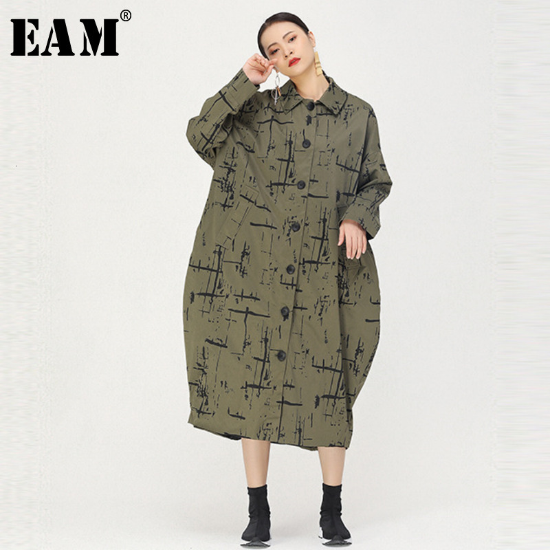 [EAM] Women Pattern Printed Big Size Long Trench New Lapel Long Sleeve Loose Fit Windbreaker Fashion Spring Autumn 2020 1K466