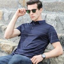 منتصف العمر الرجال قصيرة الأكمام mercerized القطن قميص بولو شريطية رقيقة التلبيب فضفاض جديد الصيف تنفس قميص بولو الرجال