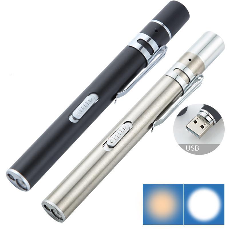 USB Rechargeable Flashlight Medical Handy Pen Light Mini Nursing Flashlight LED Torch Lamp With Stainless Steel Clip Flashlight