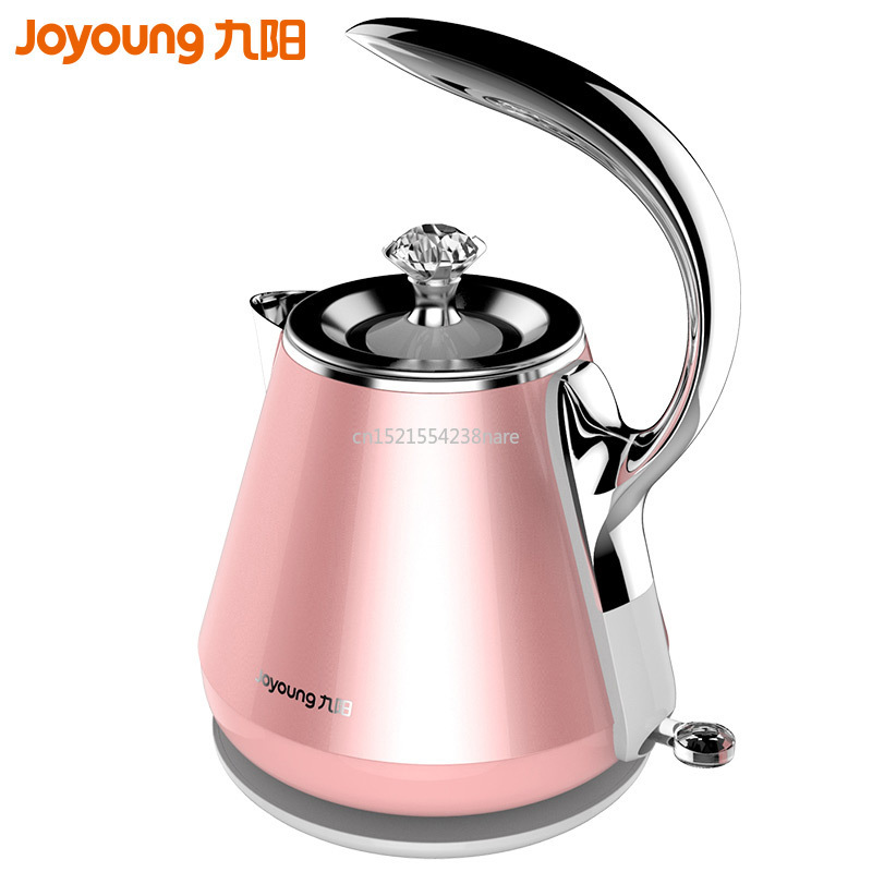 Jy21 pink electric kettle water kettle Food grade stainless steel water bottle Filter spout with crystal Accessories 1500W 1.2L|Electric Kettles| |  - title=