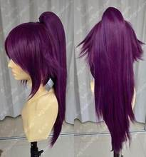 Jewelry Wig Bleach Shihouin Yoruichi 60cm Purple Lolita Cosplay Party Wig Ponytail Free Shipping(China)