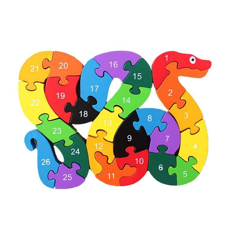 Alphabet Puzzle 3D Wood Child Educational Games Animals Snake Toy Gift