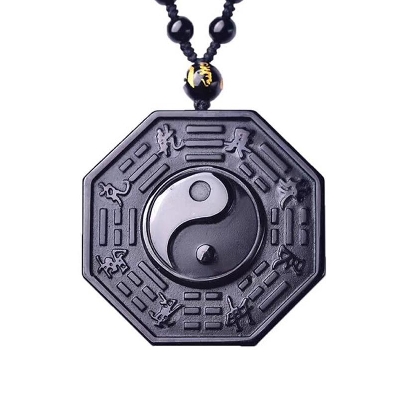 Přírodní černý obsidián přívěsek vyřezávané drby osm diagram přívěsek korálky náhrdelník dárek pro muže křišťál šperky zdarma řetěz