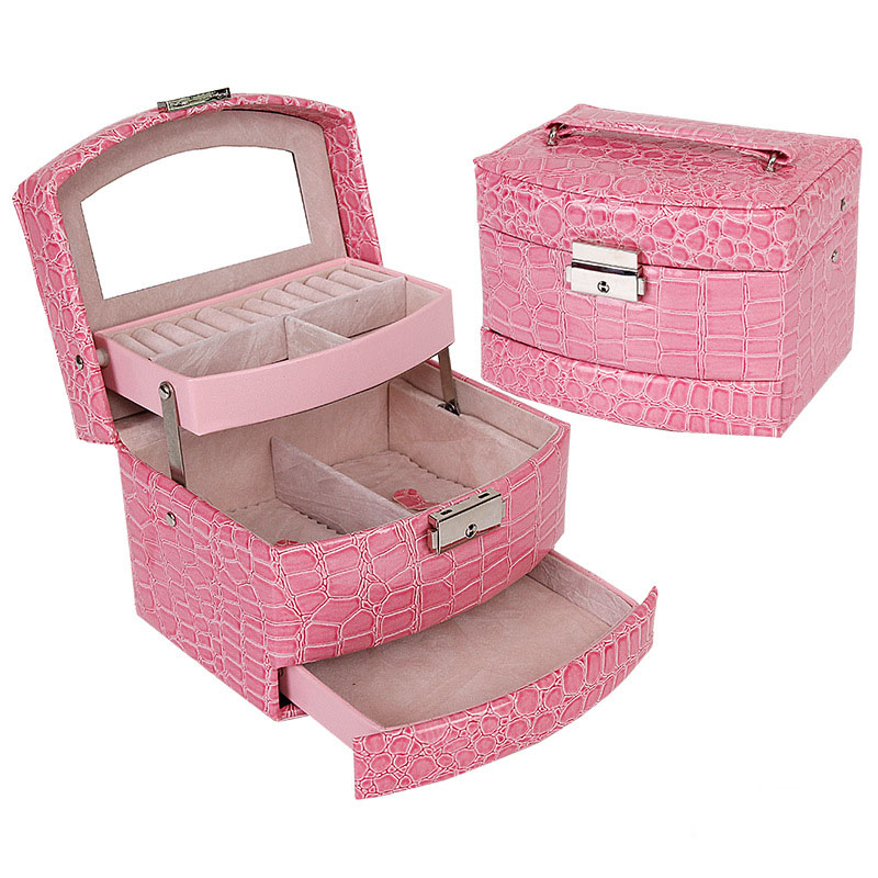 Hot sale 3 Layers Jewelry Box With Drawers Necklace Jewelry Case With Lock And Key Makeup Mirror PU Leather New