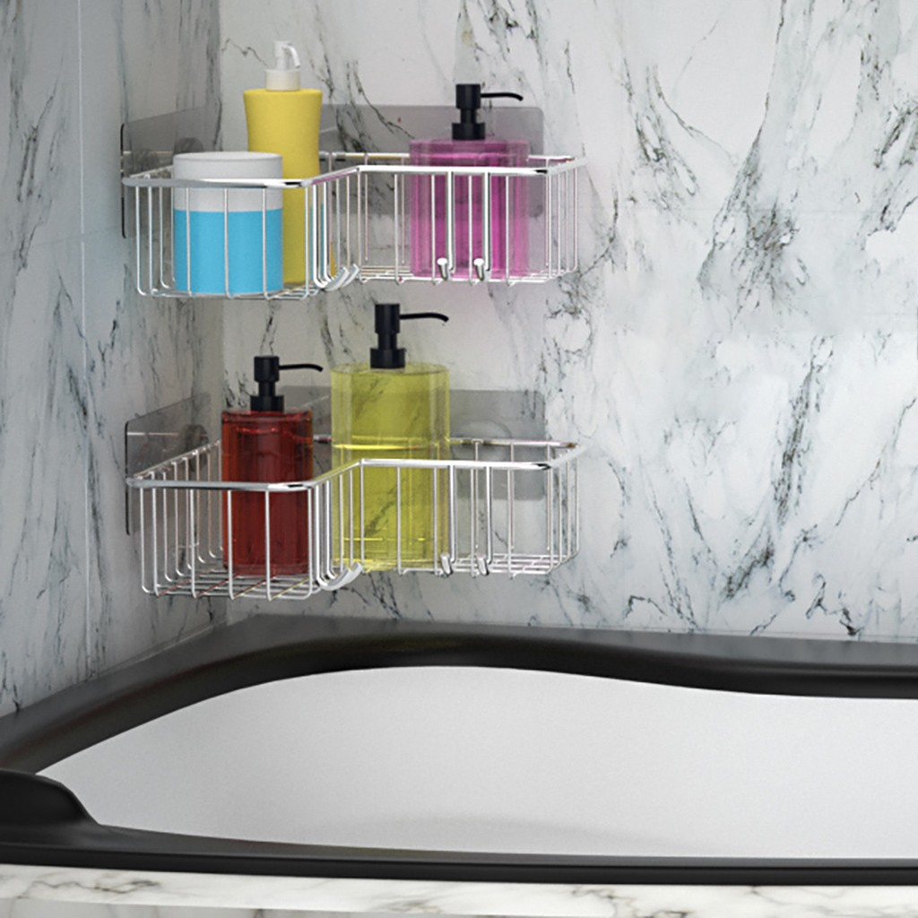 Stainless Steel Storage Organizer Corner Shower Caddy Bath Shelf With Hooks 2Pcs Accessories tool Home Dropshipping 2019 hot sal