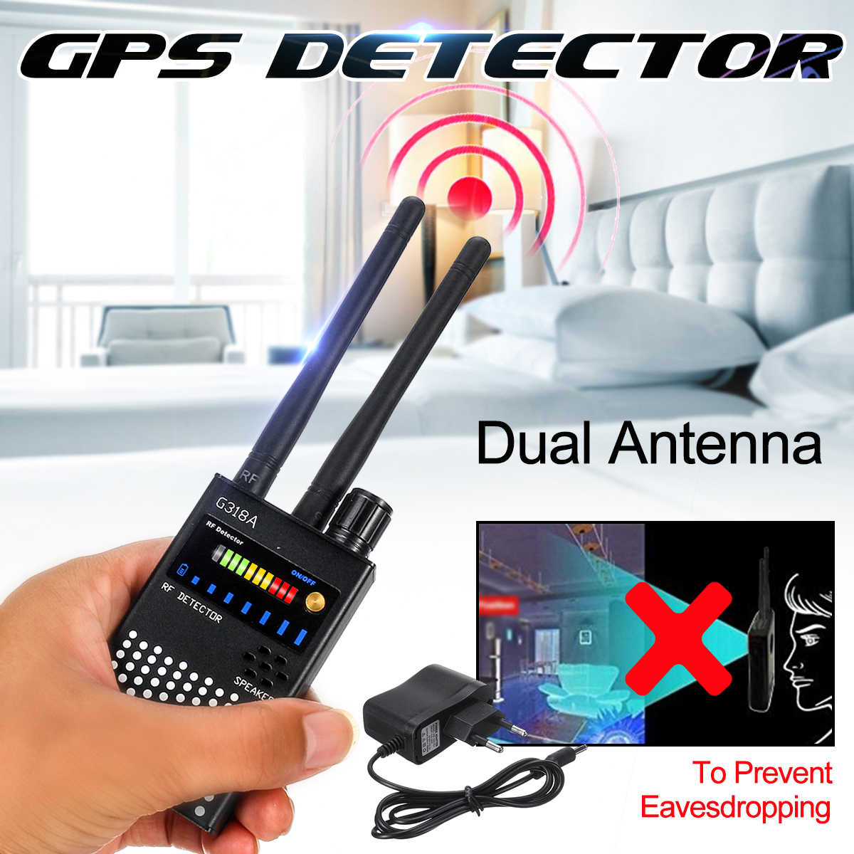 G318A هوائي مزدوج مضاد للتجسس جي بي إس إشارة لاسلكية كاشف تلقائي مكتشف راكر تردد مسح كاسحة حماية الأمن