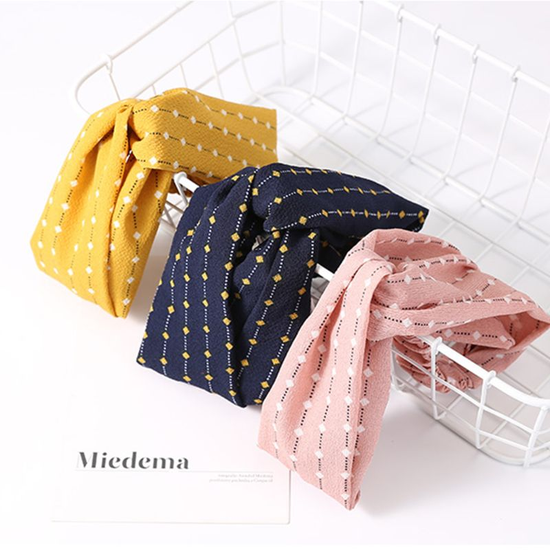 Korean Creative Polka Dot Line Wide Headband Women Stretchy Criss Cross Bowknot Hairband Casual Styling Makeup Striped Turban in Women 39 s Hair Accessories from Apparel Accessories