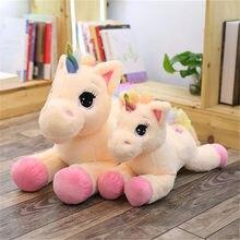 40/60/80 cm yalan duruş tek boynuzlu at pelüş oyuncak yumuşak doldurulmuş hayvan bebek kawaii gökkuşağı ünikorn bebek çocuk tatil bebek bir