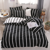 denisroom Black and white bedding set stripes duvet cover set simple bed linens bed sheets and pillowcases  DA21#|Bedding Sets| |  -