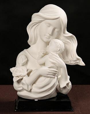 Mode européenne en porcelaine blanche cadeaux de fête des mères artisanat décoration de la maison mère et enfant sentiments conception Figure Statue