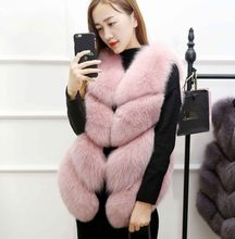 2019 Winter Vetement Women Faux Fur Coat Furry Vest Wild Fox Vest Short Slim Sexy Furry Fur Coat Lolita Plus Size Vest AW262(China)