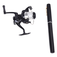 Mini Pocket Aluminum Alloy Pen Fishing Rod Pole w/ Reel|Rod Combo|   -