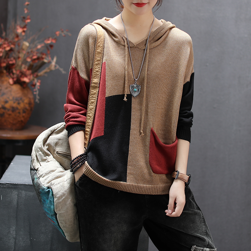 Women Spring Autumn Fashion Korea Style Vintage Color Patchwork Pocket Hooded Knitted Sweaters Female Casual Pullover Sweaters