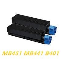 2 x cartucho de laser toner preto para oki 62439001 44992405 mb451 mb441 b401 b401d b401dn  frete grátis