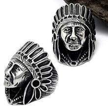 Vintage Finger Ring Classic Men Women Rings Jewelry Antique Silver Color Alloy Biker Ring Punk Indian Chief Pattern Ring Gift