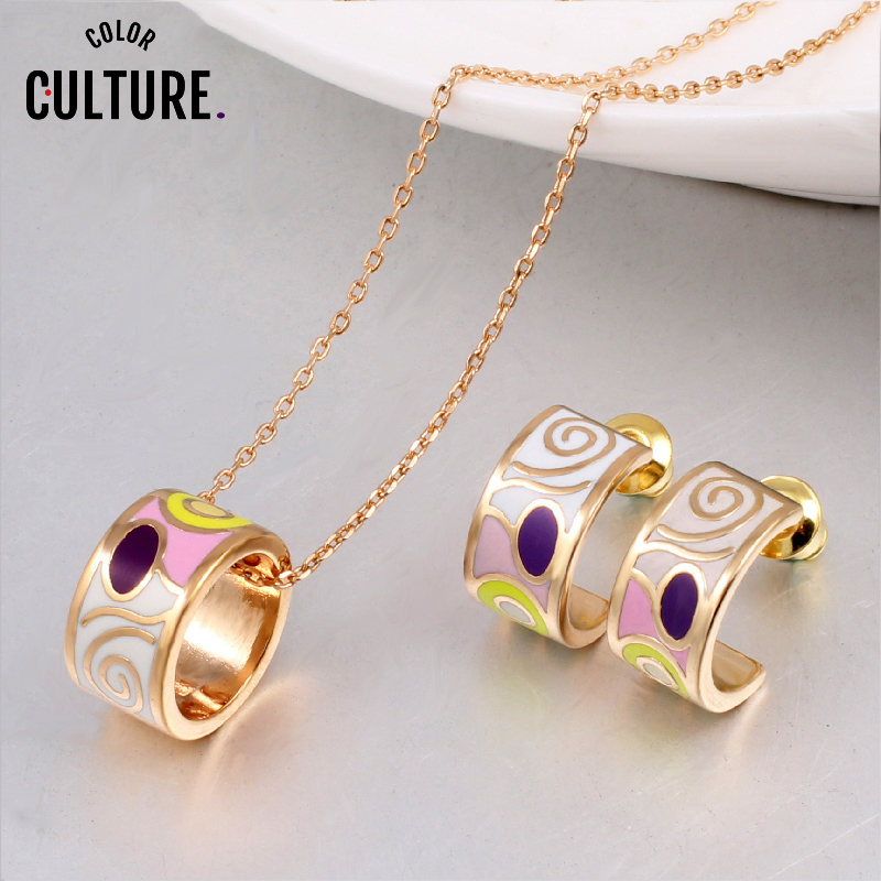 Promotions New Arrival TOP Quality Small Women Enamel Jewelry Sets Elegant Filled Color Design Jewelry (Necklace, Earring)