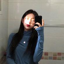 Turtleneck Long Sleeve Shirt Plus Size Retro 90s Style Kpop Elegant Office Pure Color Slim Korean Top T