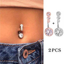2 Pcs Sexy Piercing Navel Surgical Steel Single Crystal Rhinestone Belly Button Rings Navel Piercing Ombligo 5/8mm Ball Nombril(China)