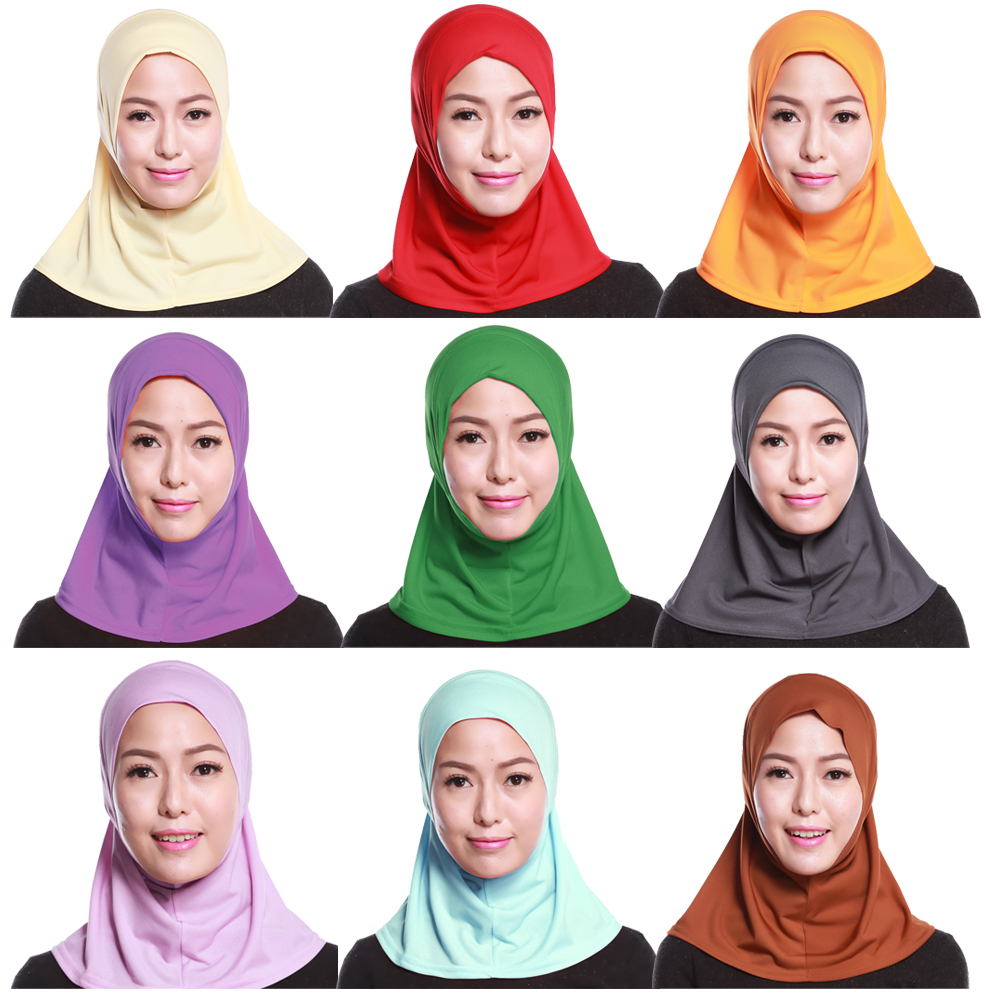 Muslim Women Under Scarf Hat Cap Islamic Prayer Ladies Neck Cover Hijab Headwear Full Cover Arab Wrap Solid Color Middle East