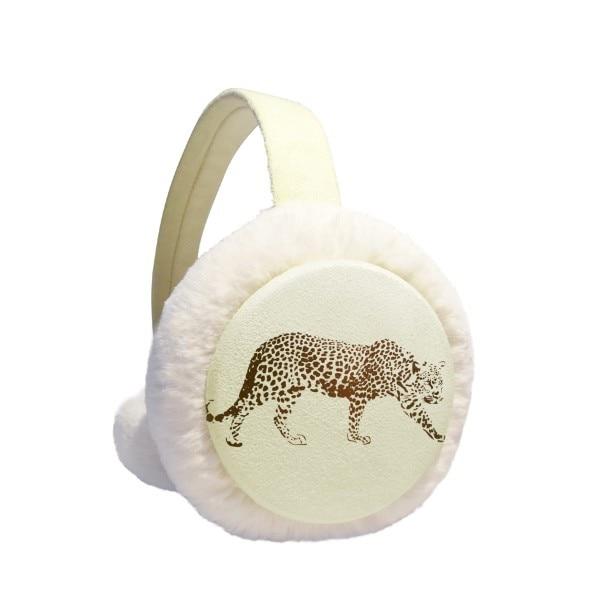 Cheetah Brown Animal Winter Earmuffs Ear Warmers Faux Fur Foldable Plush Outdoor Gift