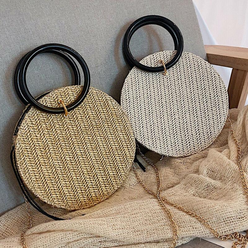 New 2019 Summer Women Boho Woven Handbag Summer Beach Tote Straw Bag Round Rattan Shoulder Bags