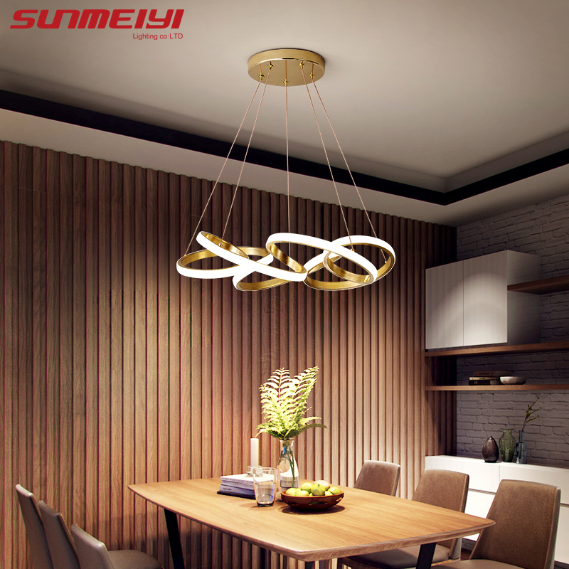 Creative Gold Pendant Lights LED Cord Hanging Pendant Lamp For Living Room Kitchen Bedroom Nordic Bar Light Luminaire Suspension