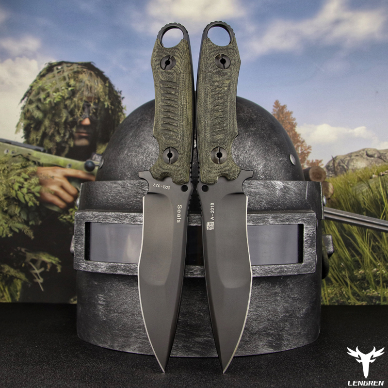 Tools : LENGREN pocket knife Flax-Handle DC53 steel north American hunting knife Outdoor Tactics Military Straight knife Camping knife