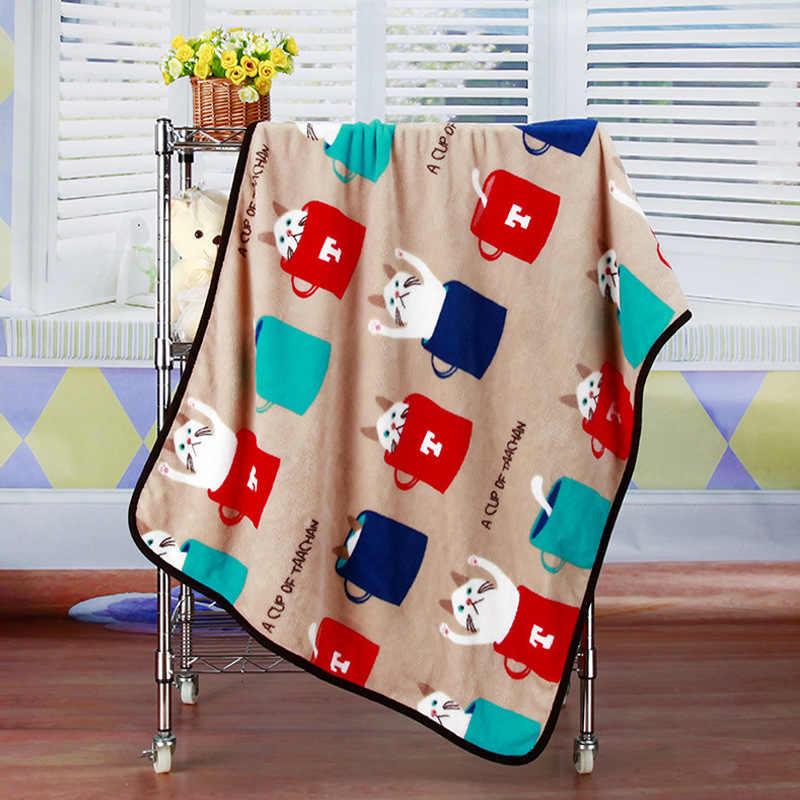 Manta de dibujos animados en El sofá cama funda de viaje manta de felpa para chico, perro, gato, mascota, impreso, edredón fino, ropa de cama de franela