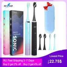 Seago – brosse à dents électrique sonique pour adultes, 5 modes, minuterie intelligente, USB Rechargeable, brosse de rechange SGS2, boîte cadeau
