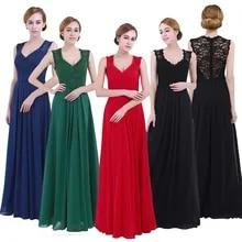 Chiffon Dress Evening-Gowns Wedding Ladies Lace Floral Elegant Long Women V-Neck