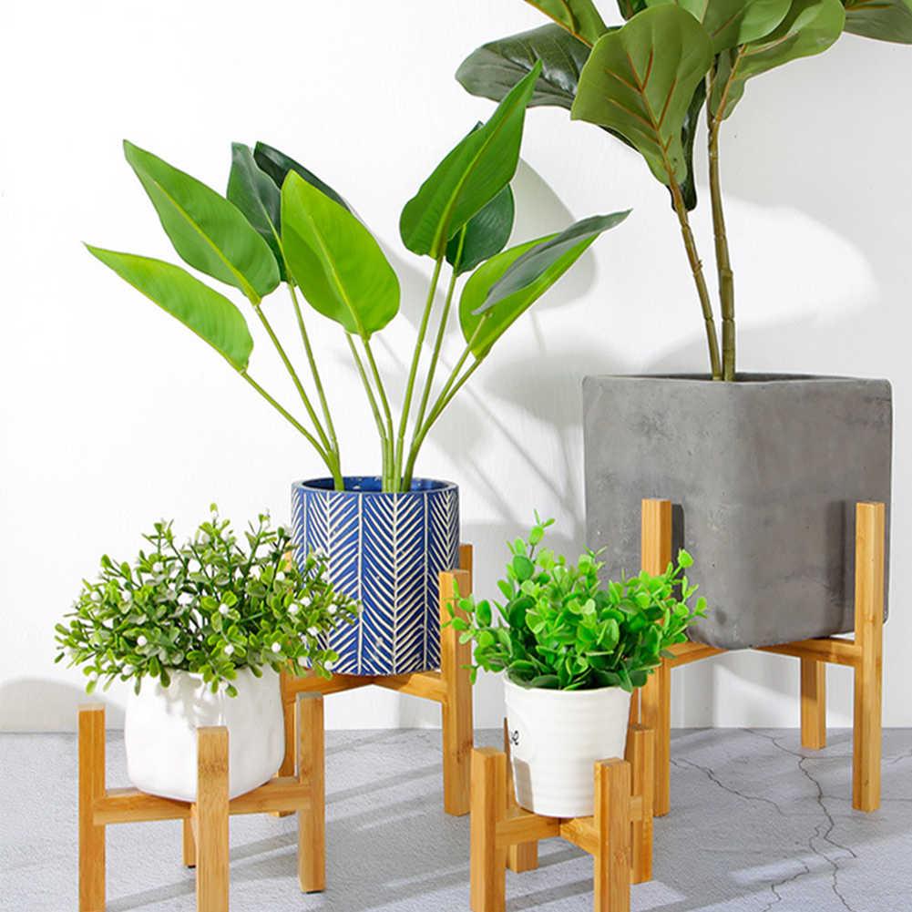 Hause Mit Fuß Pad Moderne Wohnzimmer Bonsai Halter Bambus Holz Regal Freistehende Einzel Bay Glatte Oberfläche Blume Stehen