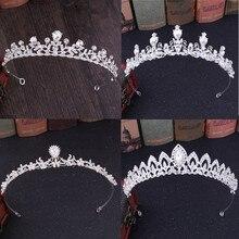 DIEZI lujo oro plata cristal nupcial Tiara pequeña corona novia diademas adornos para el pelo para mujeres accesorios de la joyería del pelo de la boda