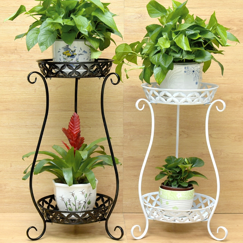 European Wrought Iron Multi-layer Flower Stand Green Balcony Flower Shelf Floor Living Room Indoor Floor Pot Rack