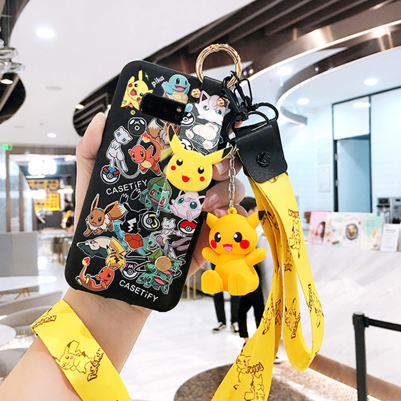 For Samsung S8/S9/S10 plus case Galaxy note 10 pro soft slicone back cover note 8/9 cute animal shell s6/s7edge girl gift+ strap image