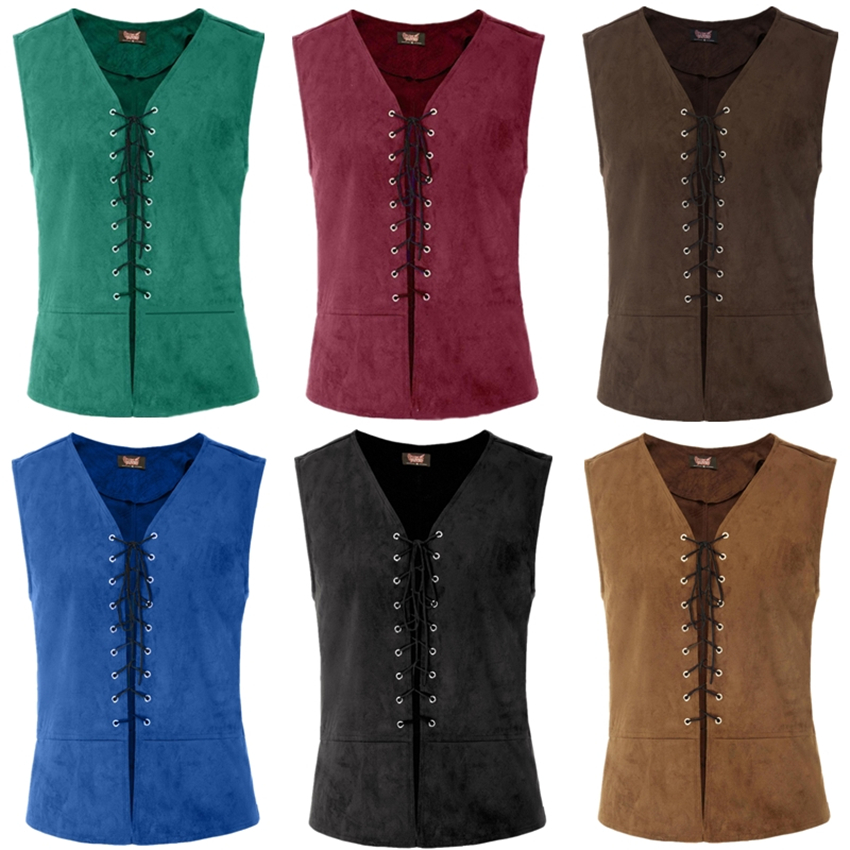 6Colors Halloween Medieval Vest Man Renaissance Steampunk Tops Gentleman Bandage Coat Retro Gothic Slim Viking Knight Waistcoat