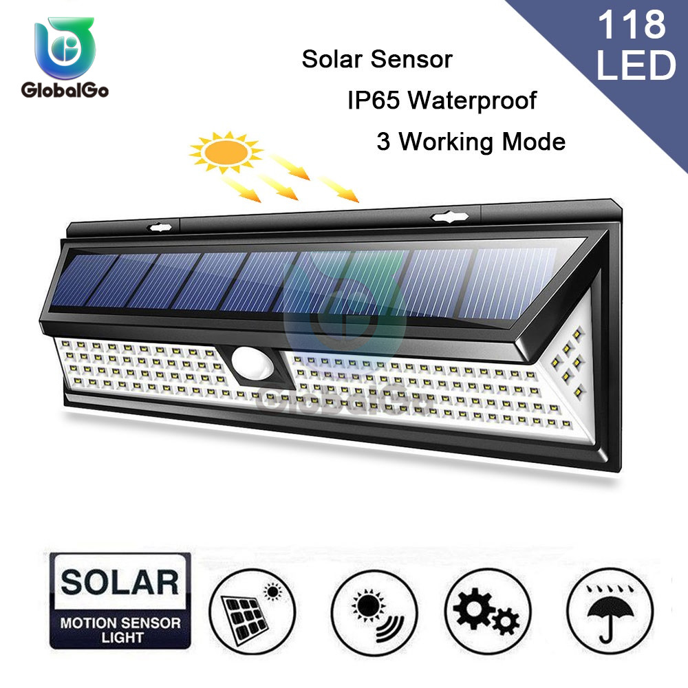118 LED Solar Lights Outdoor Body Motion Sensor Wall Lamps Street Waterproof Emergency Light For Garden Front Door Garage
