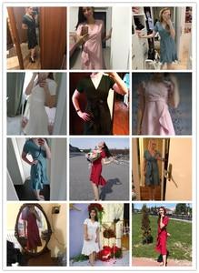 Image 5 - 7 kolorów Plus rozmiar lato Sexy elegancki dekolt do kolan trąbka syrenka szyfonowa Pure Color sukienki koktajlowe sukienka koktajlowa