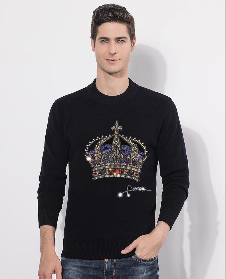 Sweater Men Casual  Diamond Stone Pullover Men Autumn Slim Fit Long Sleeve Shirt Mens Sweaters Knitted Hot Drill Design