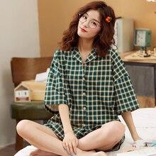 BZEL zielony w kratę zestaw bielizny nocnej luźne panie dorywczo odzież domowa skręcić w dół kołnierz piżama miękka bawełniana bielizna nocna duży rozmiar Pijama 3XL