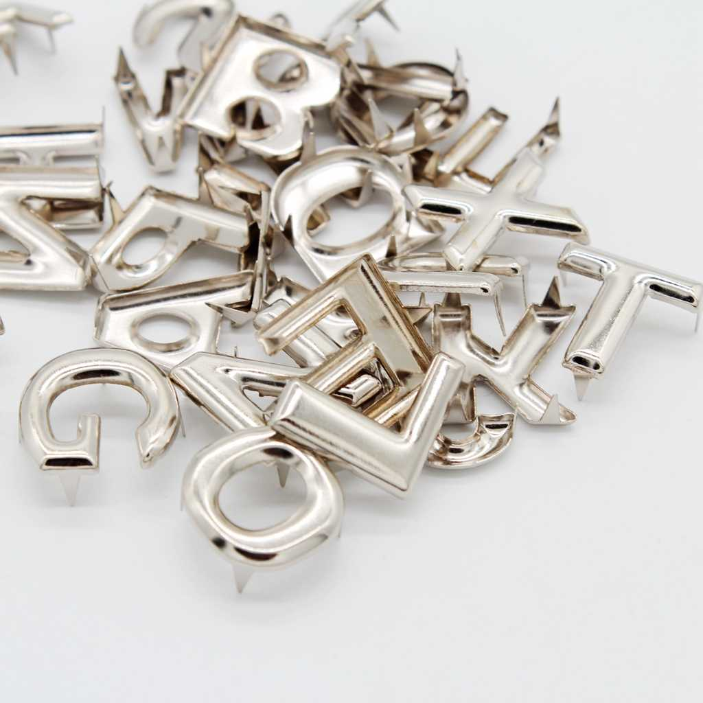 130Pcs Metal Letters Rivets Studs Rivet Buttons Fastener for Leather Bag