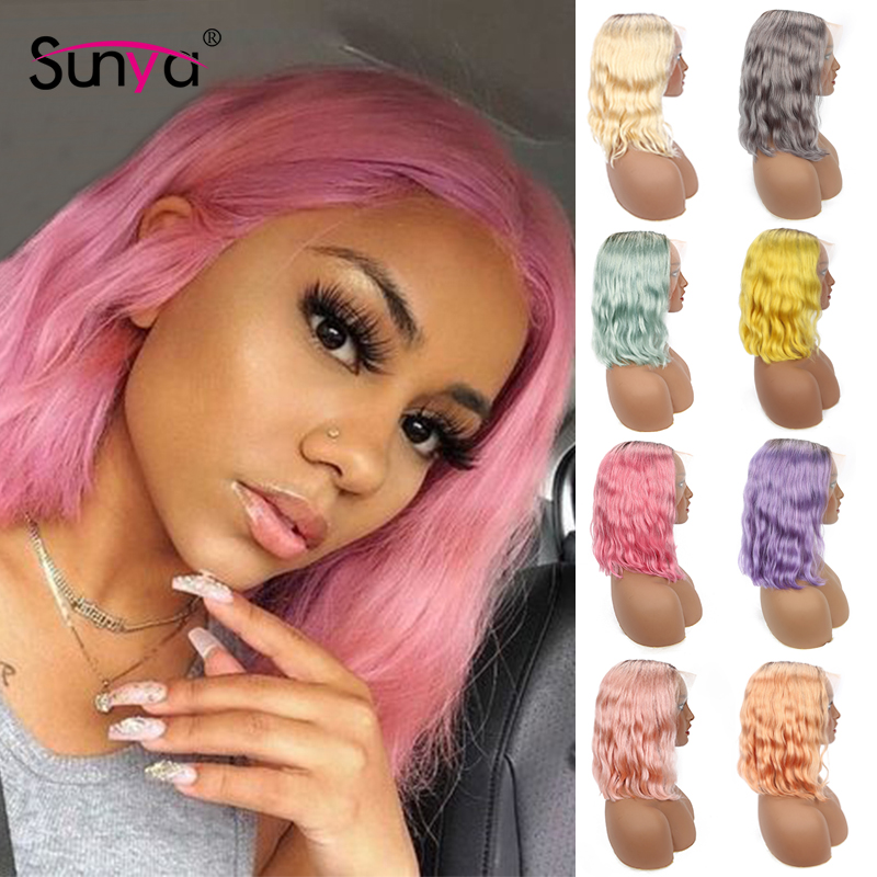 Ombre Colored Short Bob Wigs Lace Front Human Hair Wigs 1b Pink Red Grey Purple Blue 613 Blonde Remy Body Wave Lace Front Wig