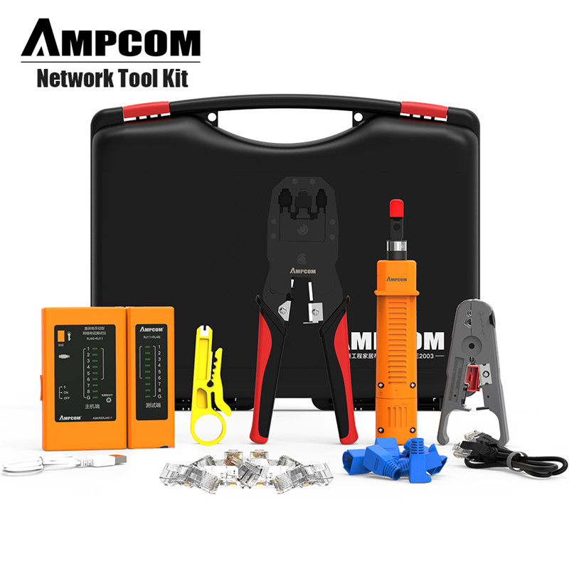 Network Tool Kit, AMPCOM 11 in 1 Professional Portable Ethernet Computer Maintenance LAN Cable Tester Repair Set