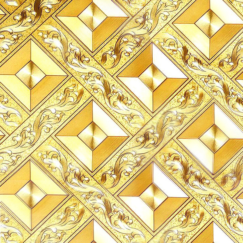 Ceiling Wallpaper Gold Foil Gold Aureus Rhombus Plaid KTV Living Room Bar Hallway Ceiling Roof Wallpaper