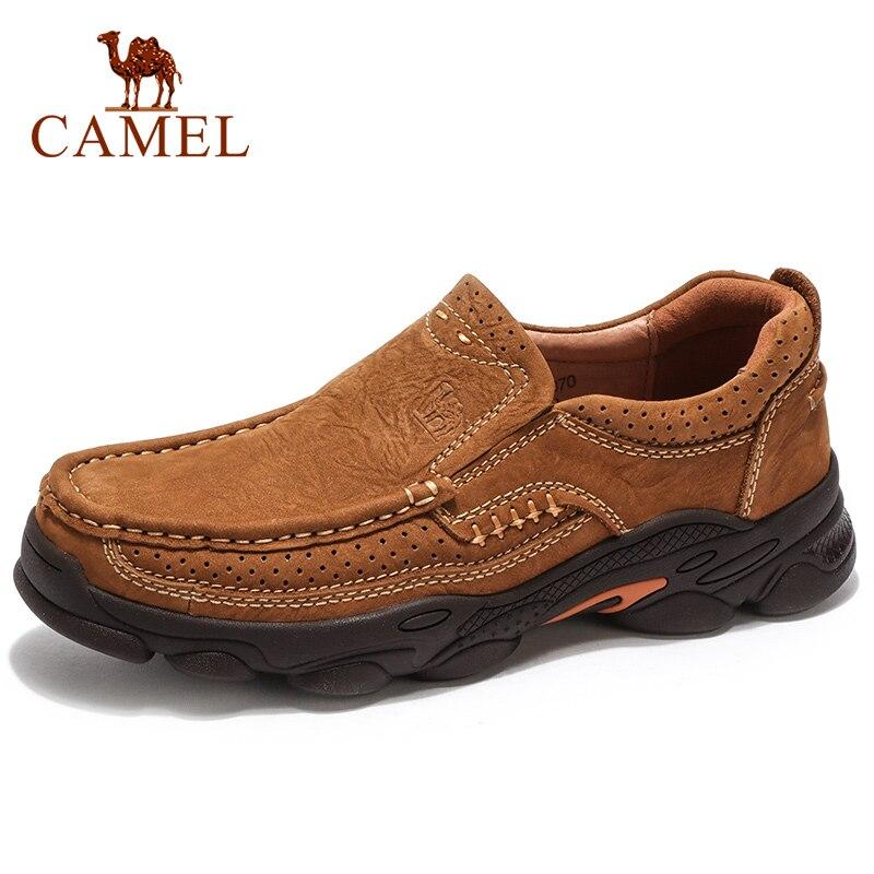 CAMEL Outdoor Men รองเท้าฤดูใบไม้ร่วงสวมใส่ลื่น Matte ของแท้หนังสบายๆรองเท้ายาง Outsole-ใน รองเท้าลำลองของผู้ชาย จาก รองเท้า บน   1