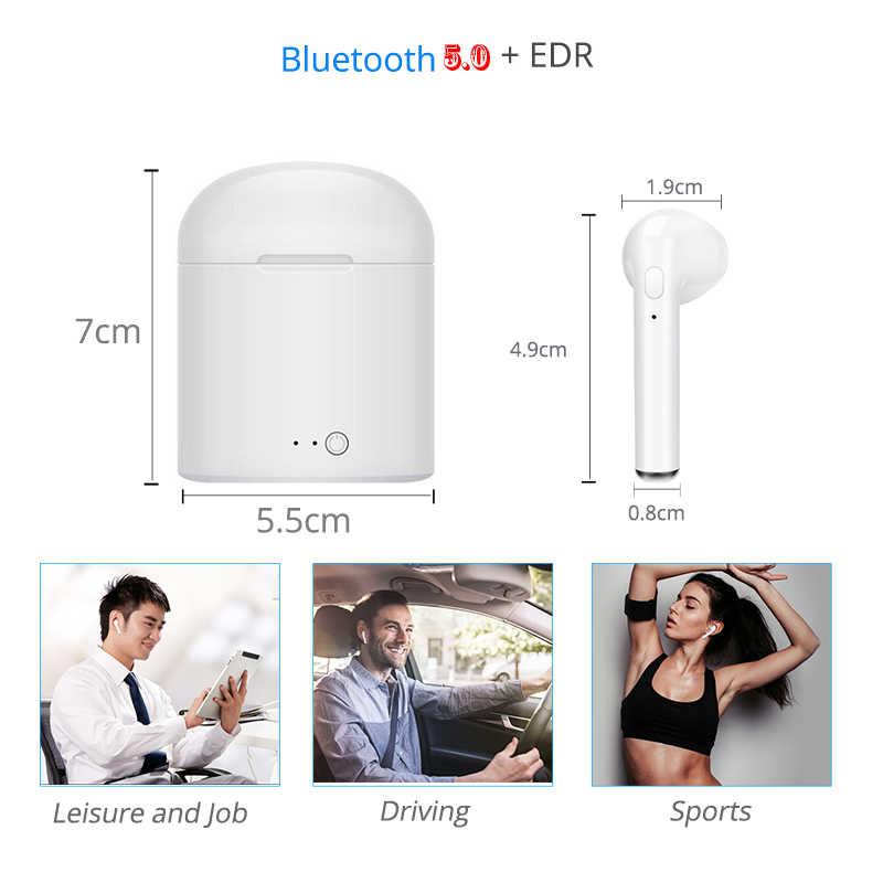 أفضل جودة I7s TWS بلوتوث اللاسلكية سماعة ستيريو ياربود سماعة مع شحن مربع Mic اللوحي لجميع هاتف ذكي