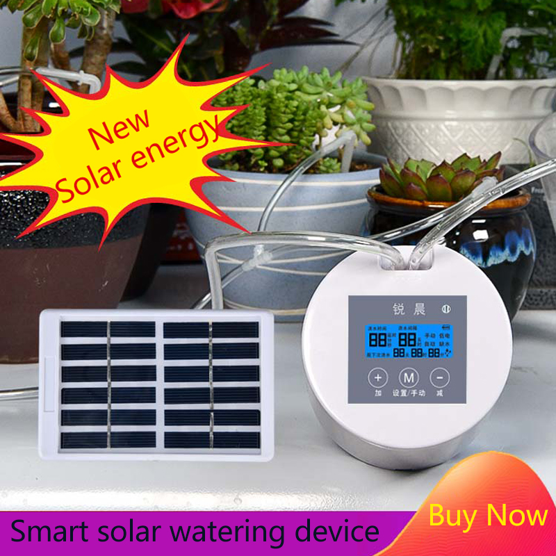 Intelligent timing solar Energy automatic watering device household drip irrigation system watering Kit for potted Plant flower