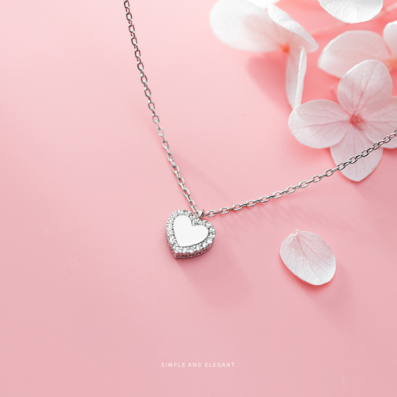 Coluswei Luxury Shiny Heart Pendant Necklaces For Women Link Chain Necklaces Wedding Engagement Real 925 Sterling Silver Jewelry