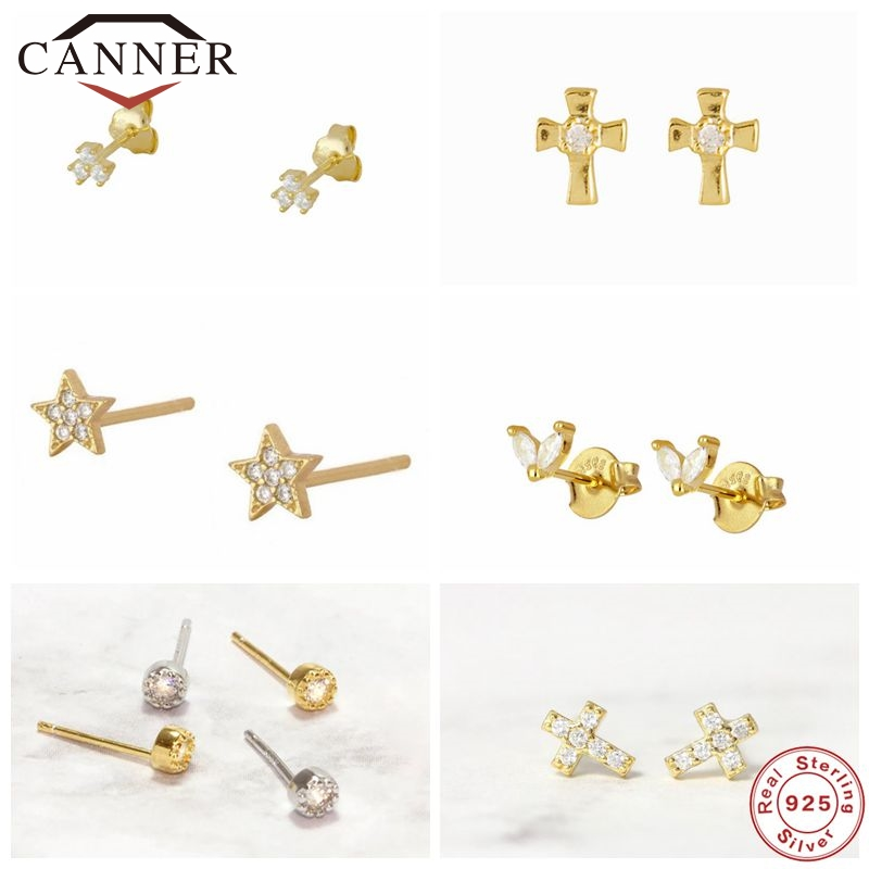 CANNER 100% 925 Sterling Silver Zircon CZ Small Stud Earrings For Women Girls Gold Color Piercing Earings Jewelry pendientes