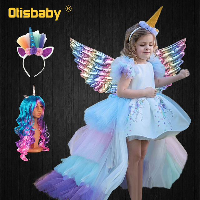 Christmas Girls Unicorn Dress with Long Tail + Wings Wig Hairband Baby Girl Princess Birthday Party Ball Gown Kids Horse Clothes 1